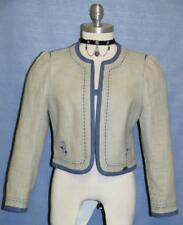 "LINEN + COTTON BLUE JACKET Women German Short SUMMER Suit Over Coat 6 S B37"""