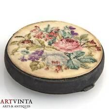 Puderdose Dose Stoff Feine Petit Point Stickerei Um 1910 Powder Box Embroidery