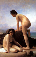 NUDE GIRLS THE BATHERS PAINTING BY BOUGUEREAU ON CANVAS REPRO LARGE