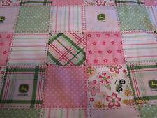 John Deere pink girly baby toddler sheets set blocks