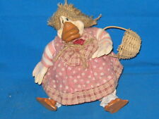 DECORATINE DUCK FIGURE/DOLL-BEANBAG-5 INCHES-PINK