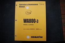 Komatsu WA800-3 Wheel Loader Operation/Operator Maintenance Manual guide 2004