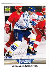 1992-93 UPPER DECK SIGNED CARD ALEXANDER ANDRIYEVSKI MOSCOW DYNAMO RUSSIAN # 342