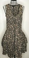 LADIES ALL SAINTS DITZY EZRA BLACK FLORAL PARACHUTE COTTON BOHO DRESS SIZE 6