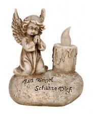 Engel auf Spruchstein LED 16 cm Grabschmuck Grabdeko Grabstein Gedenkstein Angel