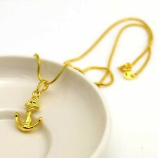"""24K Yellow Gold Filled Necklace Pendant 18""""chain Anchor Link GF Fashion Jewelry"""