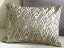 New Pottery Barn Maddie Beaded Pillow Cover 12x16 Cotton Linen Pewter