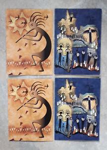 4 Stück Indianer Postkarte Postkarten Klappkarte Wandmalerei Höhlenmalerei