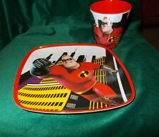 DISNEY THE INCREDIBLES 2 DINNERWARE PLATE AND CUP/GLASS MATCHING MR INCREDIBLE