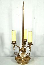 MID CENTURY BRASS+GLASS 3 ARM FRENCH BOUILLOTTE SAUCER BASE LAMP