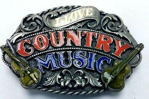 Vtg 1988 Pewter & Enamel Belt Buckle I LOVE COUNTRY MUSIC Siskiyou Buckle Co