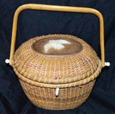 Vintage Sherwin Boyer Nantucket Basket Purse Seagull Motif As-Is