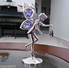 Fairy Figurine made with Swarovsi Tanzanite Octagon / Drop Prisms Silver Plated