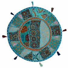 Khambadia Indian Cover Embroidery Round Ottoman Cover Patchwork Home Decor