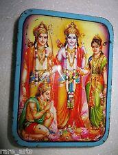 Vintage Tin Sweet box Hindu God Ram Laxman Sita & hanuman Religious India1980