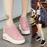 Womens Lace Up Sneakers Platform Shoes Hidden Wedge Heels Casual Sport Shoes ST@