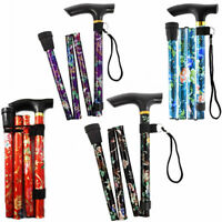 Folding Collapsible Walking Stick Pole Lightweight Compact Travel Adjustable