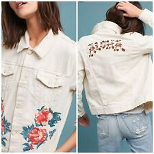 Mother The Bruiser Cropped Denim Jacket Woman Embroidery Distressed XS New $345