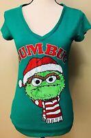 Sesame Street Womens T Shirt Size Medium M Green Oscar Grouch Christmas Top