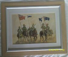 Framed Watercolour Soldiers on Horses Signed D.C.Miller
