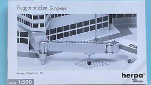6 single Gangways Flughafenzubehör Airport Accessories, 1:500 mit OVP Herpa
