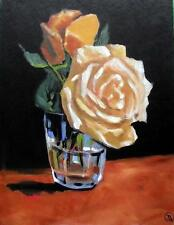 Peach Roses in a Glass : Original Oil Painting by Terry  Wylde