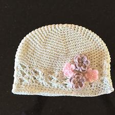 Baby Girls Beanie Hat Infant White Cotton Crochet Kufi Kids Cap Photo Prop