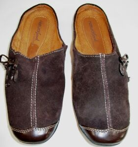 NATURAL SOUL by Naturalizer Women's FANNER Brown Suede Mules Slip-on Clogs Sz 7M