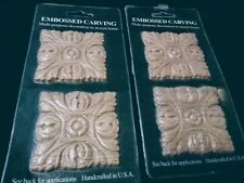 "Embossed Square Oak Wood Appliques - Two Pair - ONLAY - 2.75"" squares."