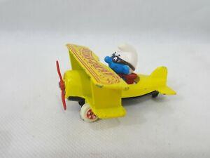 Smurfs Ertl Airplane Aero Smurf Figurine Vintage Die Cast Metal Toy Plane Figure