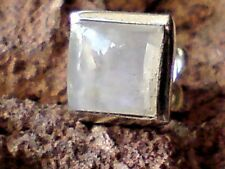 SINGLE STERLING SILVER8mm SQUARESTUD EARRING with MOONSTONE CABOCHON STONE £6.50