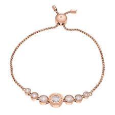 NEW Michael Kors Rose Goldtone Stainless Steel Crystal Logo Slider Bracelet