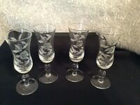 Set/4 Vintage Schnapps Stemmed Cordial Glasses Gray Cut Rose Middle Ball Stem