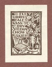 Aleksandry Stelmachowskiei  bookplate vase flowers  wood-engraving   JK414