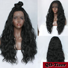 200% Density Long Natural Wave Synthetic Lace Front Wigs Baby Hair Black Women