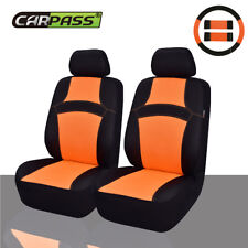UNIVERSAL CAR SEAT COVERS ORANGE STEERING WHEEL COVER AIRBAG FIT TWO FRONT SEAT