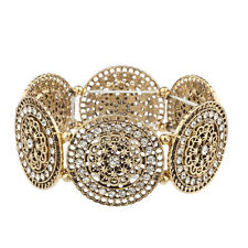Lux Accessories Burnished Gold Floral  Crystal Rhinestone Stretch Bracelet