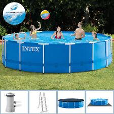 Intex 457x122 Swimming Pool Frame Stahlwandbecken Schwimmbecken Schwimmbad blau