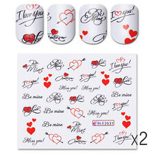 2 Sheets Water Decals Love Words Red Heart Nail Art Transfer Sticker Manicure