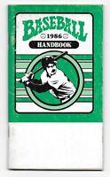 1986 Baseball Handbook Paperback Booklet