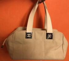 Authentic CHANEL CC Chocolate Bar Hand Bag Canvas Leather Beige Vintage 8811078