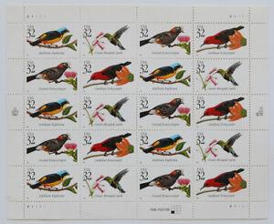 32c TROPICAL BIRDS Pane of 20 1998 Scott #3225a (#3222 to #3225)