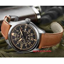 43 мм parnis черный циферблат сапфир стекло Miyota 8215 автоматические мужские часы P1271