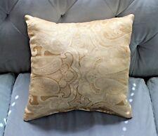 STUFFED Tan & Gold Paisley and Trellis Throw Pillow 16 X 17 In OOAK