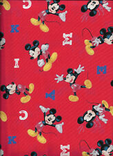 Disney Mickey Mouse Traditional M-I-C-K-E-Y Red 100% Cotton Fabric Half Yard