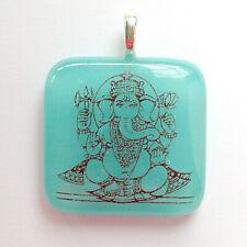 Ganesh pendant, turquoise fused glass, symbol of success, ganesha charm jewelery