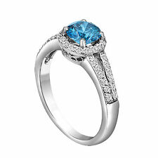 1.35 CARAT ENHANCED BLUE DIAMOND ENGAGEMENT RING 18K WHITE GOLD HALO BRIDAL
