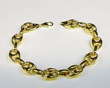 "14k Yellow Gold Puffed Anchor  Mariner 8"" link bracelet 11 MM 10 grams"