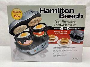 *New* Hamilton Beach Dual BREAKFAST SANDWICH MAKER Nonstick English Muffin Egg