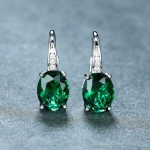 4Ct Oval Cut Green Emerald Leverback Hoop Women's Earrings 14K White Gold Finish